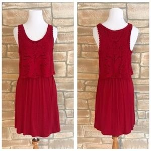 Anthropologie red crochet lace geranium dress